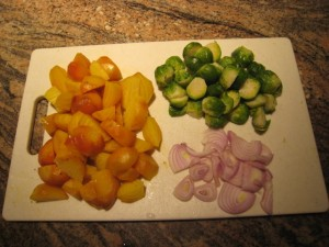 The Side Dish Extraordinaire Triumvirate: Golden Beets, Brussel Sprouts, Shallots! Photo by mjb2010