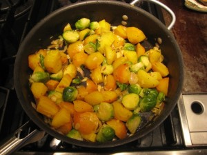 Ta Da! Golden Beets and Brussel Sprouts Ready to Serve! Photo by mjb2010