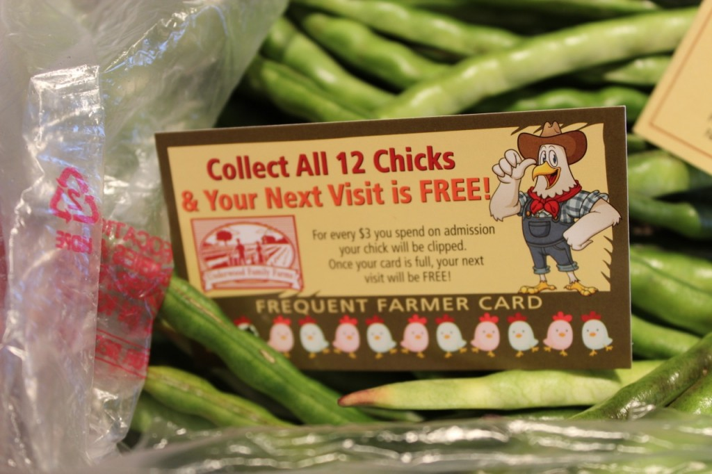 Don't forget your Underwood Family Farms Frequent Farmer Card! Photo by mjb2013